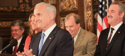 Governor Dayton, lawmakers, and stakeholders greet the press