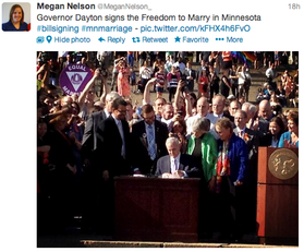 Tweet: Governor Dayton signs the historic freedom to marry bill!