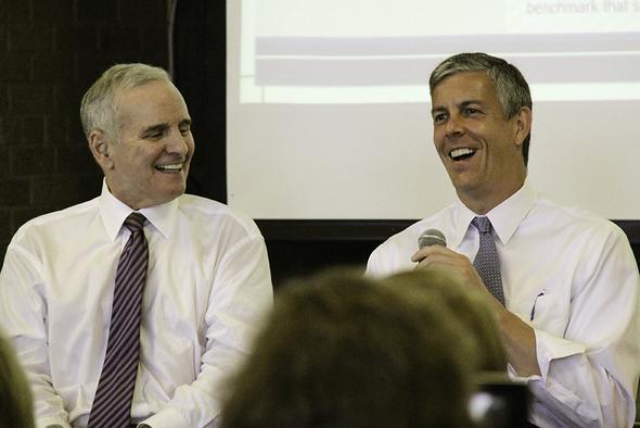 Governor Mark Dayton and U.S. Education Secretary Arne Duncan.