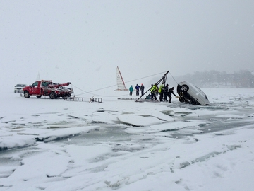 Vehicle broken through ice