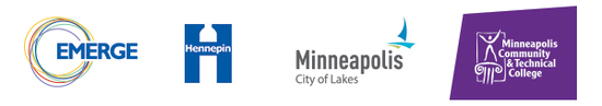 Logos from Emerge, Hennepin County, City of Minneapolis,