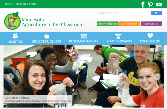 Minnesota Ag in the Classroom website homepage