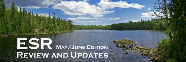 ESR Review and Updates May/June Edition. Image of a minnesota lake in the summer during the daytime.