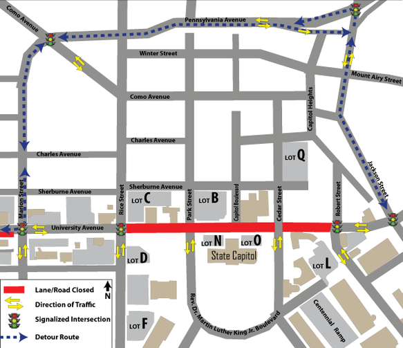 univ closure detour map