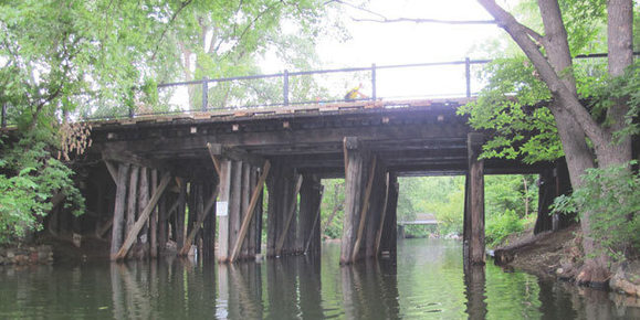 Existing wooden railroad birdge