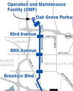 Map excerpt shows northern end of METRO Blue Line Extension.