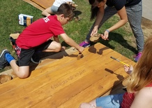 students staining picnic tables