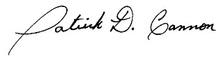Patrick D. Cannon Signature