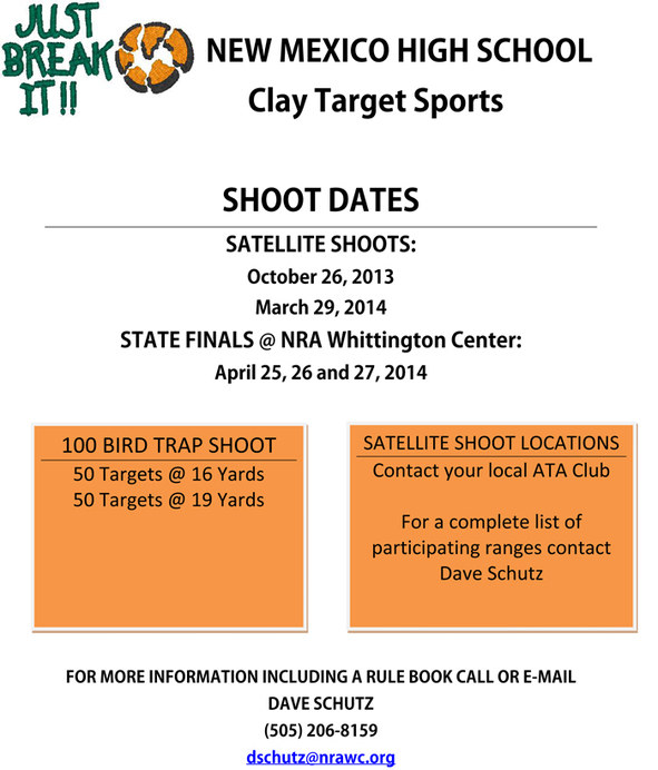 NM HS Clay Target Sport State Finals @ NRA Whittington Center | Raton | New Mexico | United States
