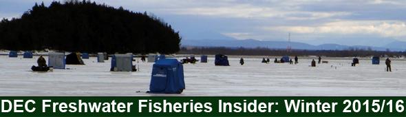 Winter ice fishing scene