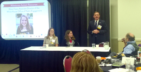 Executive Director Kevin Miller speaking at the Milestone Autism Conference