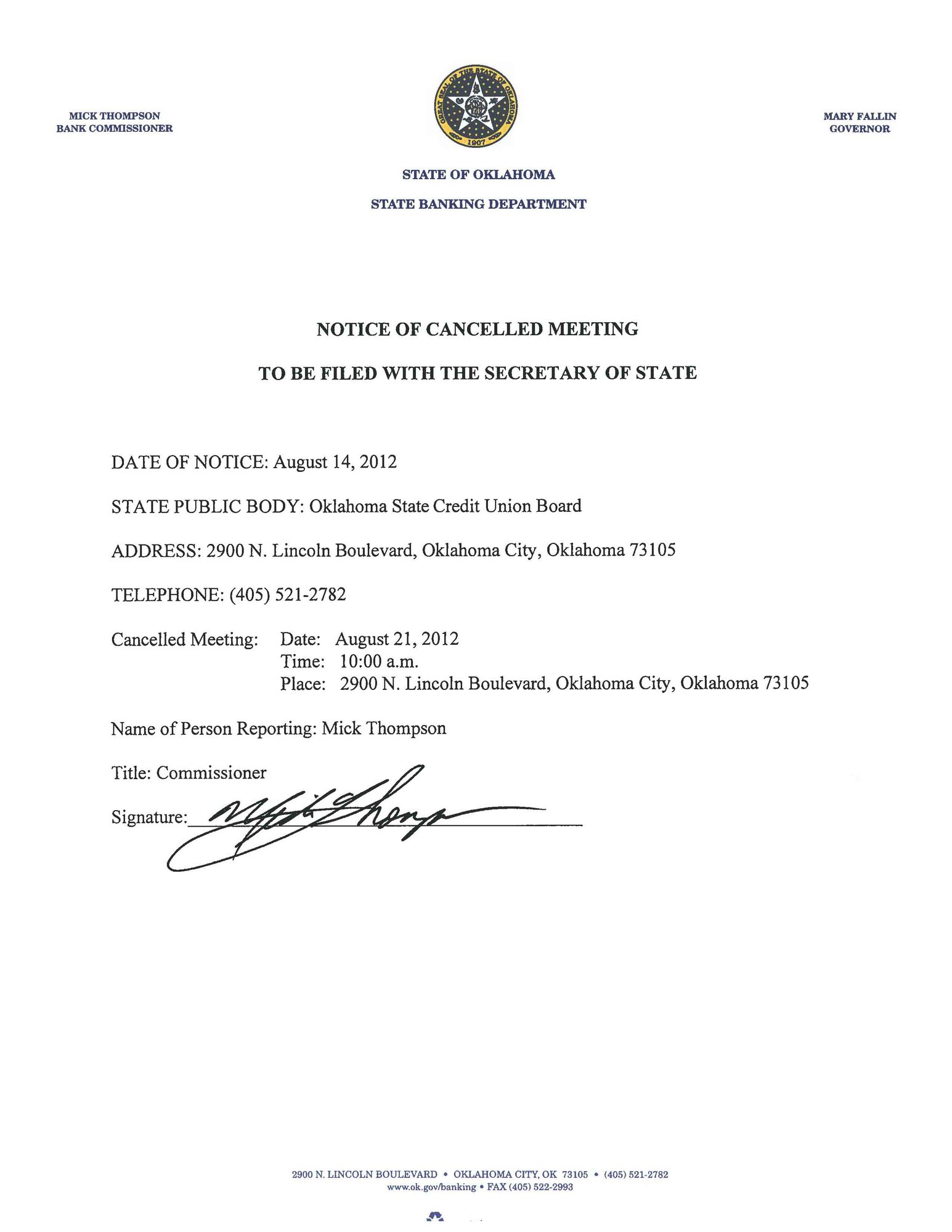 2012-08-14 CU Board Meeting Cancellation Notice