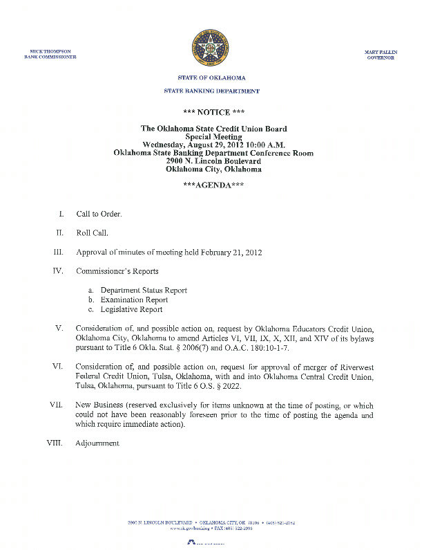 Credit Union Board Meeting on August 29
