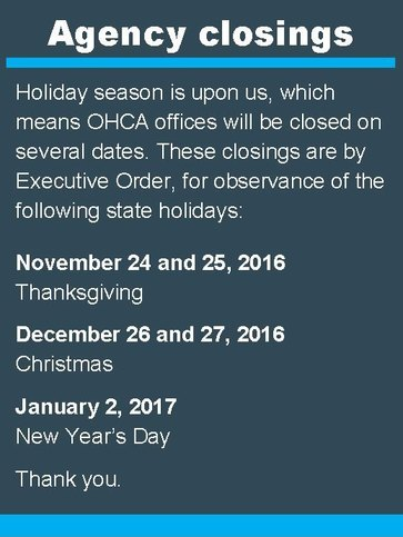 Winter holiday closings