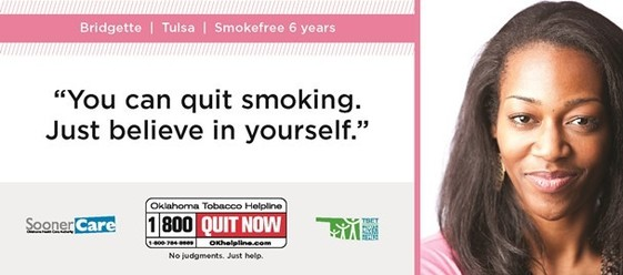 1-800-QUIT-NOW or OKhelpline.com for the Oklahoma Tobacco Helpline