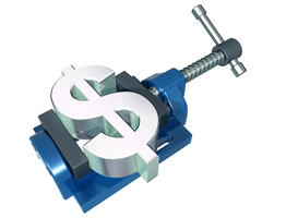Dollar sign being squeezed in a vise-grip