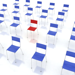 3D rendering of red chair sitting in middle of many blue chairs