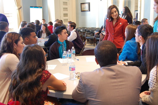 Joy Hofmeister listened to students opinions on end-of-instruction exams and bullying.