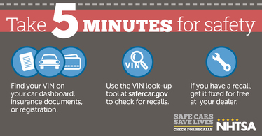 Take Five Minutes for Safety - Check for Recalls