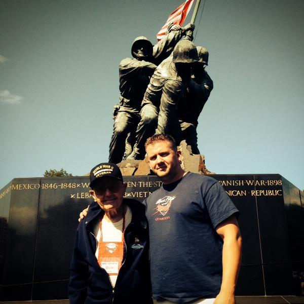 OVH resident Richard Lovett and Dallas Swafford at the U.S. Marine Corps War Memorial in Washington, D.C.