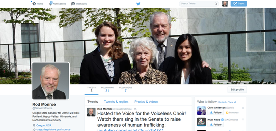 A picture of Senator Monroe's Twitter page.