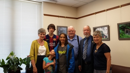 Davis family with Chuck and Katie Riley in the Senator's office