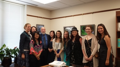 The Forest Grove Equestrian team (9 girls) meet Senator Riley in his capitol office