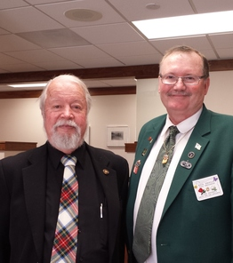 Rick Shipley stands with Sen. Riley in the outer office on Elk's Day at the capitol