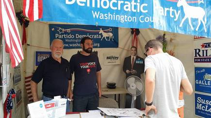 Sen. Riley with Ross Lampert in the Washco Dems booth at the Washington County Fair