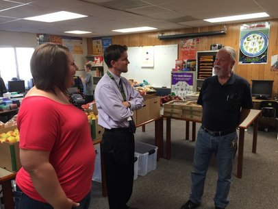Sen. Riley at the school pantry at McKinney Elementary School