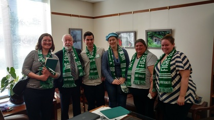 Group of food bank supporters with the senator in his Salem office
