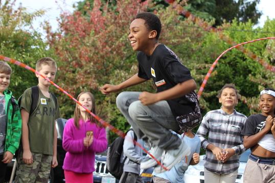 Kids jumping rope