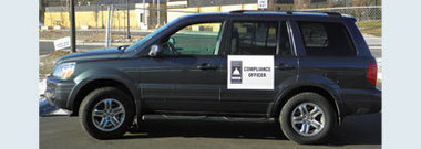 Compliance decal on vehicle