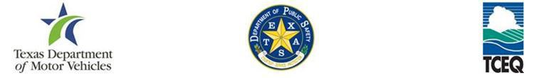 Logos of Texas Department of Motor Vehicles, Texas Department of Public Safety, and Texas Commission on Environmental Quality