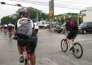 Cyclists near downtown Houston