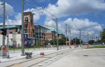Light rail construction near Minute Maid Park continues as METRO a revised April 2015 opening