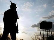 hunter and blind at dawn