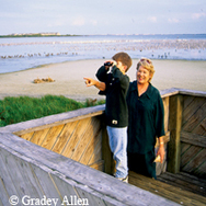 woman, boy on beach viewing deck
