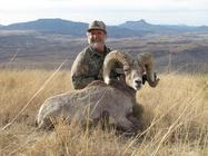 hunter with trophy big horn sheep