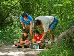 Family geocaching in a state park