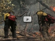 2 firefighters fighting flames in woods