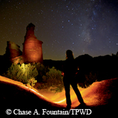 night sky, backlit sillouette against rock formations