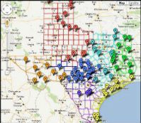 Texas map showing drawn hunt locations
