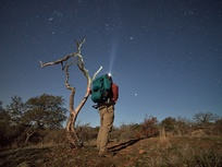 contest finalist: man, backpacking, night sky
