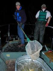 2 biologists, boat, nighttime, winter time