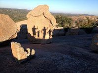 family shadows on boulder, Enchanted Rock
