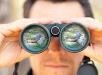 man, binoculars showing a bird reflection