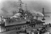 Battleship Texas, dock, vintage photo