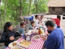 large family picknicking
