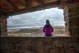 girl, cloudy panorama, Davis Mountains